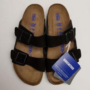 Birkenstock Arizona Black Suede Leather Sandals 36